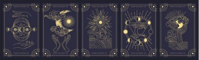 Plakat Set of five mystery cards in black and gold with intricate designs over a black background, colored vector illustration