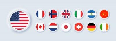 Plakat Set of flag icon. United States, Italy, China, France, Canada, Japan, Ireland, Kingdom, Nicaragua, Norway, Switzerland, Netherlands. Round icons flags. Neumorphic UI UX user interface. Neumorphism