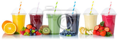 Plakat Set of fruit smoothies fruits orange juice drink straw in a cup isolated on white