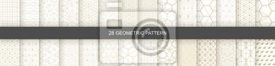 Plakat Set of Geometric seamless patterns. Abstract geometric  hexagonal  graphic design print 3d cubes pattern. Seamless  geometric cubes pattern.