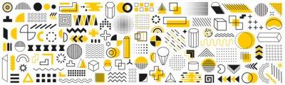 Plakat Set of geometric shapes. Memphis design retro elements. Collection trendy halftone geometric shapes. Retro funky graphic, 90s trends designs and vintage print element collection – vector