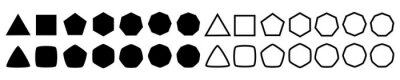 Plakat Set of geometric shapes, polygons with various number of sides: triangle, quadrangle, pentagon, hexagon, heptagon, octagon, nonagon icons collection, sharp and slightly rounded version - vector