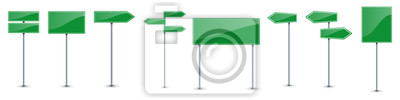 Plakat Set of green road text panels. Vector road signs.