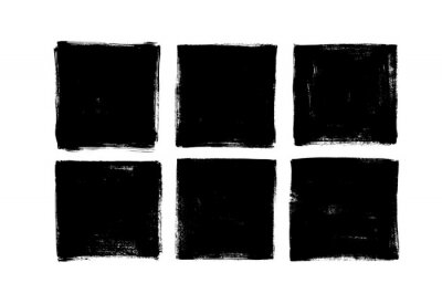 Plakat Set of grunge square template backgrounds. Vector black painted squares or rectangular shapes.