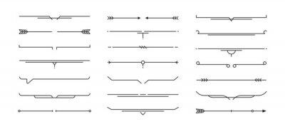 Plakat Set of Hand drawn design elements. Vintage line elements. Decorative drawing badges, frames. Decoration, banners, swirls divider, emblems, arrows. Vector illustration.