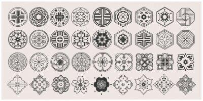Plakat Set of hand drawn oriental elements. Black mandala / Asian traditional design.
