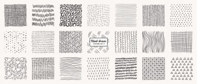 Plakat Set of hand drawn patterns isolated. Vector textures made with ink, pencil, brush. Geometric doodle shapes of spots, dots, circles, strokes, stripes, lines. Template for social media, posters, prints.