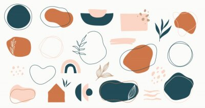 Plakat Set of hand drawn shapes in terracotta, navy blue and blush pink colors. Collection of organic shapes, logo, backgrounds,abstract design elements with floral decor.Vector illustration in earthy colors