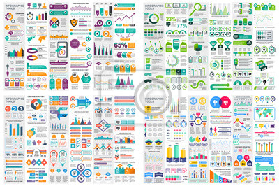 Plakat Set of infographic elements data visualization vector design template. Can be used for steps, options, business process, workflow, diagram, flowchart concept, timeline, marketing icons, info graphics.