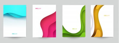 Plakat Set of minimal template in paper cut style design for branding, advertising with abstract shapes. Modern background for covers, invitations, posters, banners, flyers, placards. Vector illustration.
