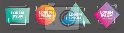Plakat Set of modern abstract vector banners. Geometric shapes of different colors with outline design - Vector