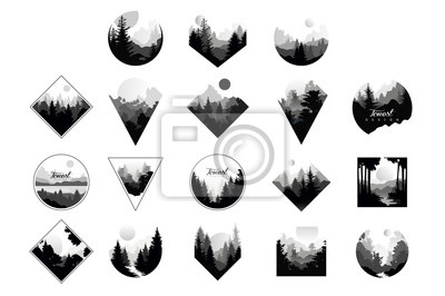 Plakat Set of monochrome landscapes in geometric shapes circle, triangle, rhombus. Natural sceneries with wild pine forests. Flat vector for company logo or camping logo