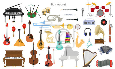 Plakat Set of musical instruments on the white background.