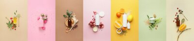 Plakat Set of natural cosmetic products on color background