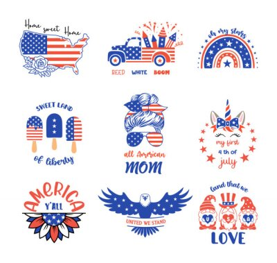 Plakat Set of patriotic signs and symbols. Vector prints for 4th of July with quotes. Independence day design elements in the colors of the US national flag.