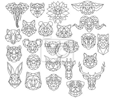 Plakat Set of polygonal animal portraits. Collection of geometric animal heads. Black white illustration. Linear art. Tattoo.