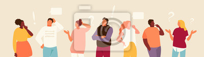 Plakat Set of puzzled and surprised office people. Problem solving and discussion. Vector flat illustration