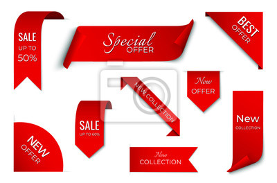 Plakat set of red sale ribbon banner. label design. isolated vector tag images