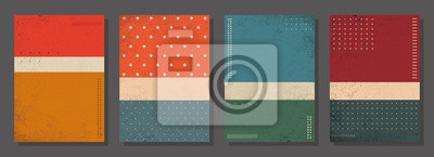 Plakat Set of retro covers. Cover templates in vintage design. Abstract vector background template for your design. Retro design templates set  for brochures, posters, flyers, banners, covers, placards.