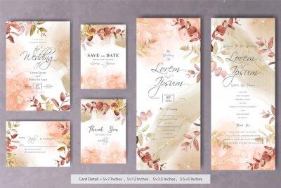 Plakat Set of Rustic Bohemian Fall Autumn Wedding Invitation Template