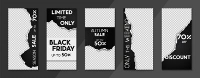 Plakat Set of sale, website store banner templates. Banners for online shopping. Editable Instagram Stories template with torn paper. Vector illustrations for posters and newsletter designs, ads