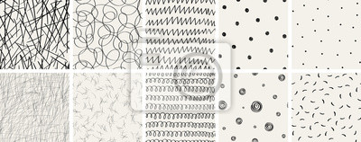 Plakat Set of seamless abstract hand-drawn patterns. Vector modern creative backgrounds for your design