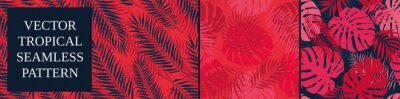 Plakat Set of seamless patterns with tropical exotic leaves and plants, vector botany composition in red blue colors