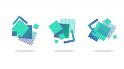 Plakat Set of square abstract badges, icons or shapes in mint, green and blue colors