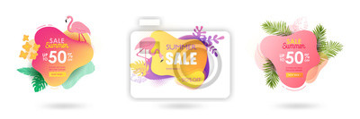 Plakat Set of Summer sale banner template. Liquid abstract geometric bubble with tropic flowers, flamingo. Tropical background and backdrop, Promo badge for seasonal offer, promotion, advertising. Vector