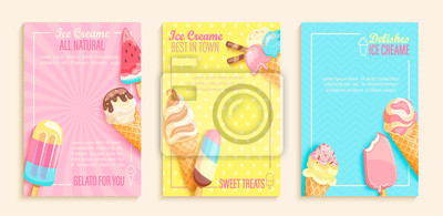 Plakat Set of sweet ice cream shops flyers,banners on vintage background.Collection of pages for kids menu,caffee,posters. cards, cafeteris advertise.Template vector illustration.