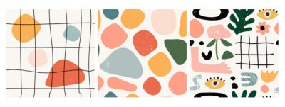 Plakat Set of three seamless patterns. Hand drawn various shapes and doodle objects. Abstract contemporary modern trendy vector illustration. Stamp texture. Every pattern is isolated