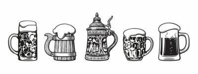 Plakat Set of traditional beer mugs. Vector illustration.