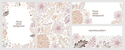 Plakat Set of universal hand drawn floral template for cover. Home decor, backgrounds, cards. Children abstract and floral design in doodle style. Vector illustration and seamless pattern