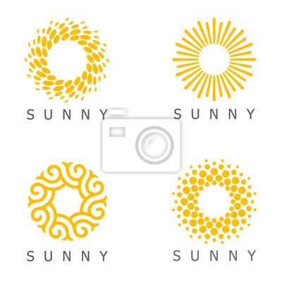 Plakat Set of vector logo design template. Sun abstract icons.
