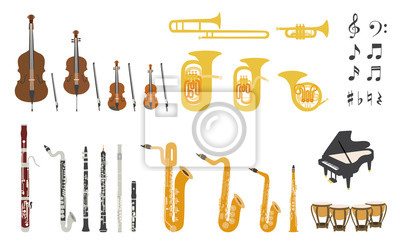 Plakat Set of vector modern flat design orchestra instruments