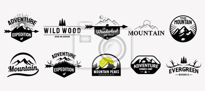 Plakat Set of vector mountain and outdoor adventures logo designs, vintage style