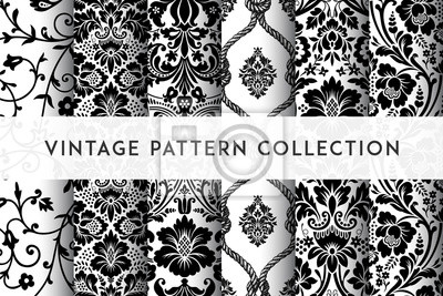 Plakat Set of Vector seamless damask patterns. Rich ornament, old Damascus style pattern for wallpapers, textile, packaging, design of luxury products - Vector Illustration