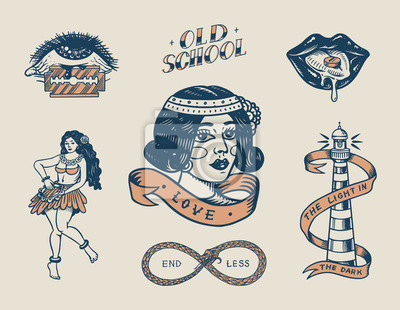 Plakat Set of vintage old school Tattoo. Characters Playing Cards, Hawaiian hula dancer woman, lips and lighthouse, panther, dice and snake. Engraved hand drawn sketch. Badges, print or patches for t-shirt.