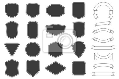 Plakat Set of vitage label, badges shape and ribbon baner collections. Vector. Black template for patch, insignias, overlay.