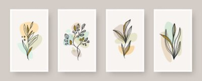 Plakat Set of wall art poster. Abstract shape and line art plant with glitter gold, Boho style botanical design for cover, print, poster, wall decoration. Vector floral design.