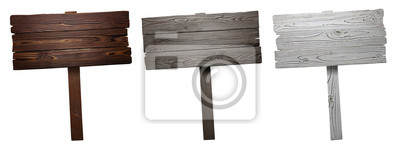 Plakat Set of wooden signs, isolated on white background