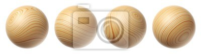 Plakat Set of wooden spheres isolated on a white background