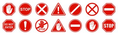 Plakat Set stop red sign icon with white hand, do not enter. Warning stop sign - stock vector