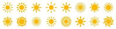 Plakat Set sun icons sign, solar isolated icon, sunshine, sunset collection, summer, sunlight – stock vector