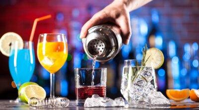 Plakat Set with different cocktails on bar tender