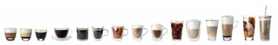 Plakat Set with different types of coffee drinks on white background