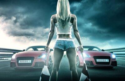 Plakat Sexy blonde woman starts racing