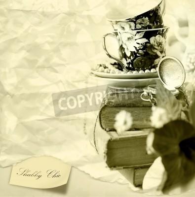 Plakat Shabby chic romantyczny tła stare książki, zegarek kieszonkowy i kubki