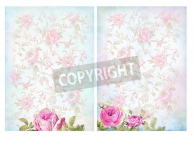 Plakat Shabby chic tła z róż. Floral pastelowych rocznika tle.
