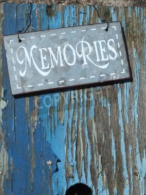 Plakat Shabby chic wspomnienia metalowe znak na niebieskim tle grunge